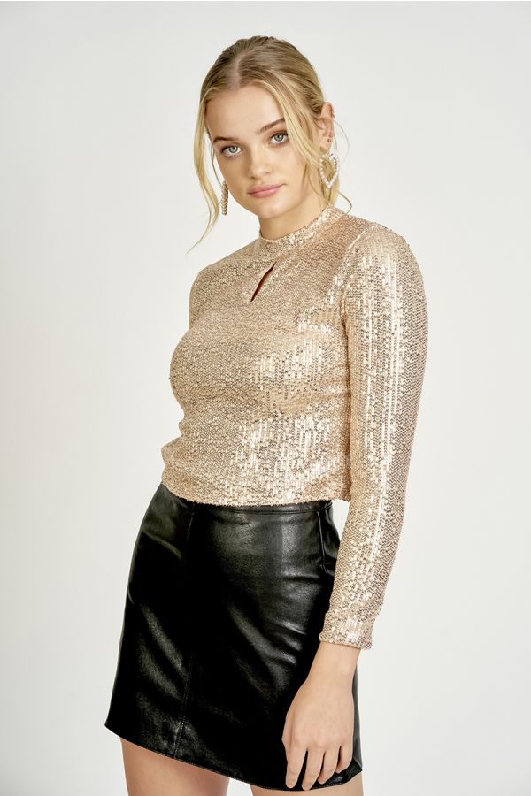 SEQUIN SLITS TOP (325266)