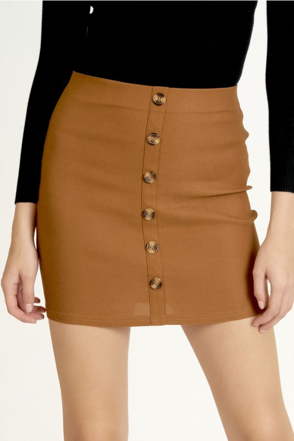 BUTTON DOWN MINI SKIRT (325268)