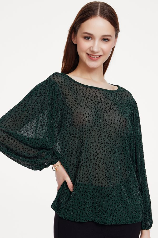 SMOCKING WAIST VOLUME SLEEVE TOP (325269)