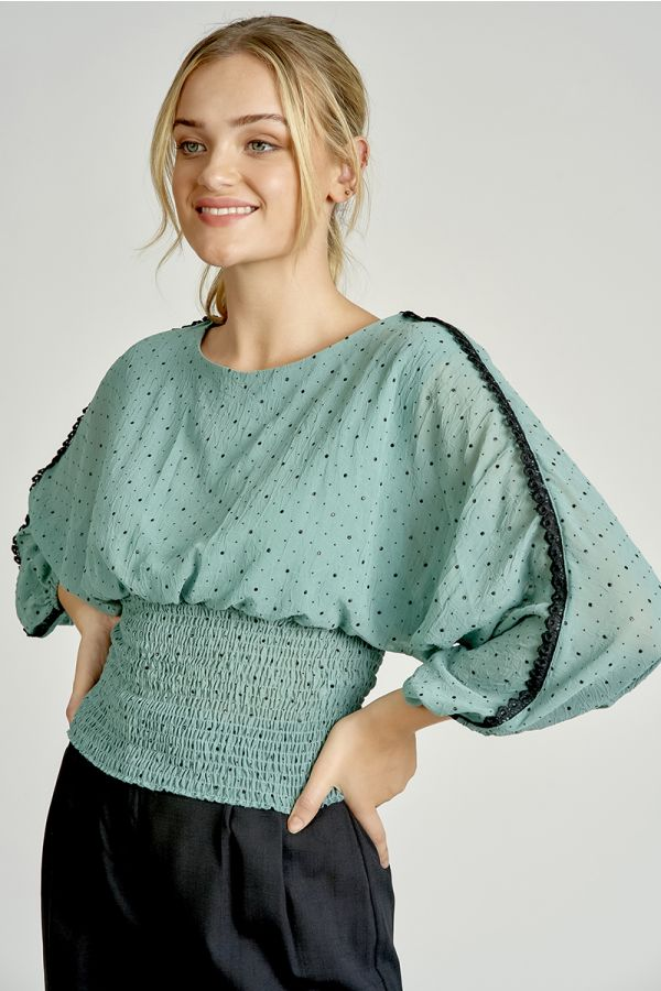 DOT PATTERN SMOCKING TOP (325271)