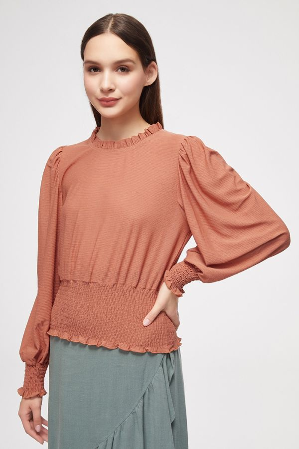 SMOCKING HEM PUFF SLEEVETOP (325281)