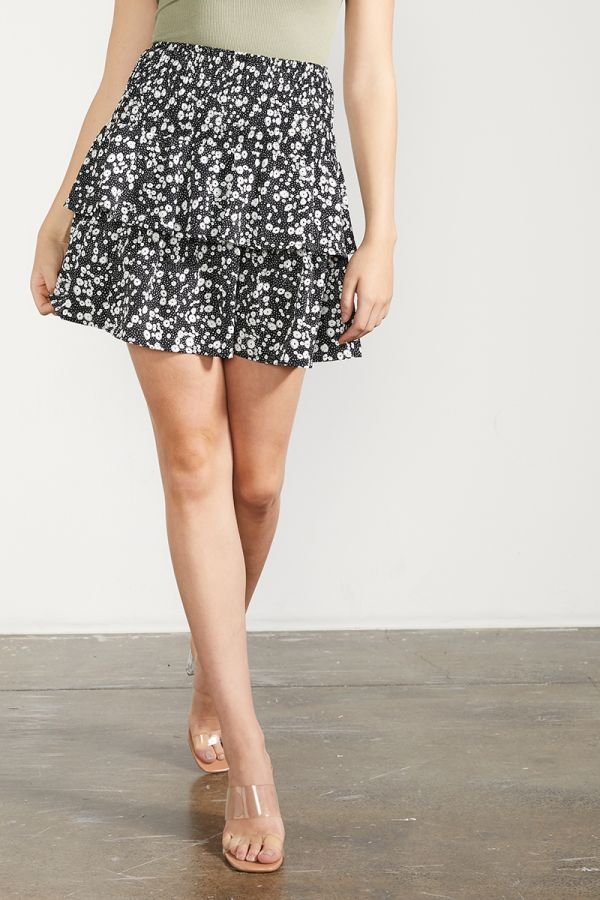 SHIRRED WAIST LAYERED SKIRT (325282)