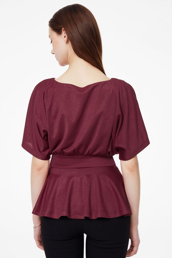 BATWING SLEEVE PEPLUM TOP (325304)