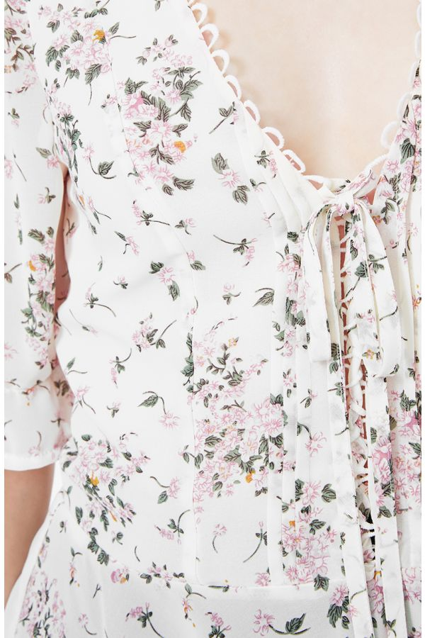 PLEATED DETAIL LACE UP BLOUSE (325317)