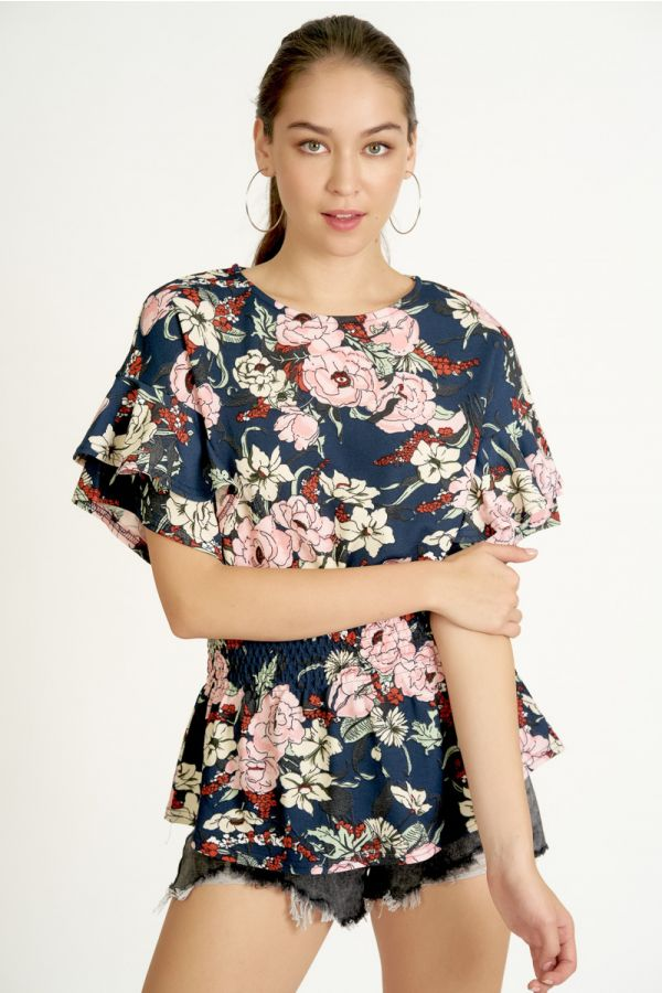 FRILL SLEEVE FIT&FLARE TOP (325324)