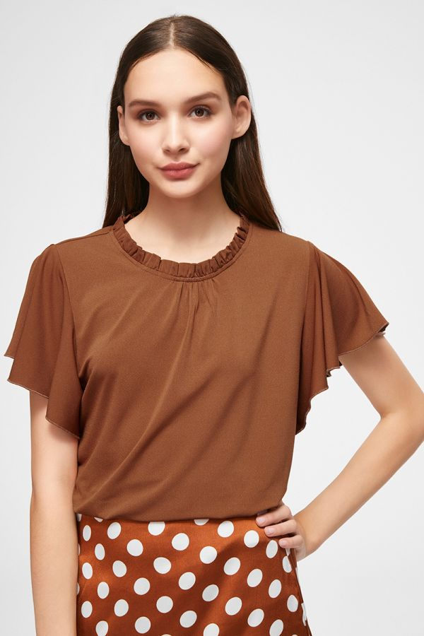 RUFFLED HIGH NECK TOP (325335)