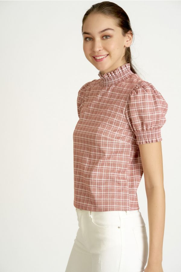PUFF SLEEVE CHECK TOP (325365)