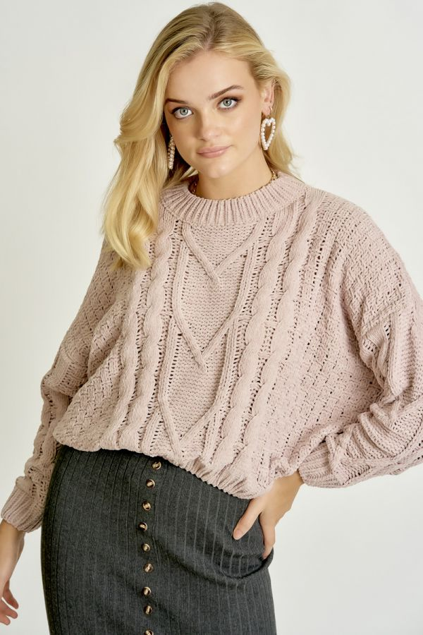 CABLE LOOSE FIT KNIT TOP (325371)