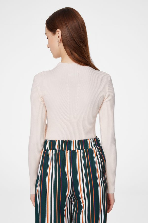 RIBBED HIGH NECK KNIT TOP (325383)