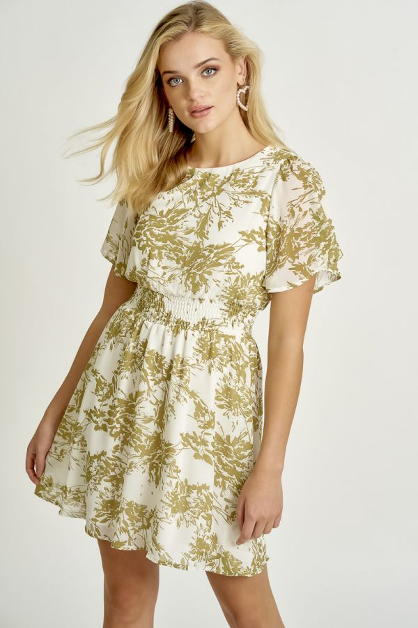WAIST SMOCKING PRINTED DRESS (325387)