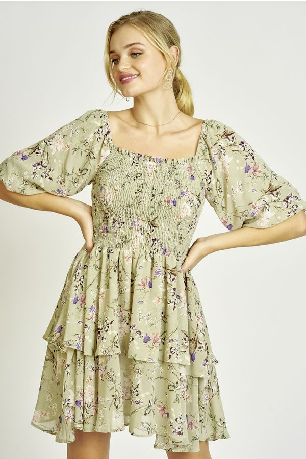 SMOCKING DETAIL PRINTED DRESS  (325391)