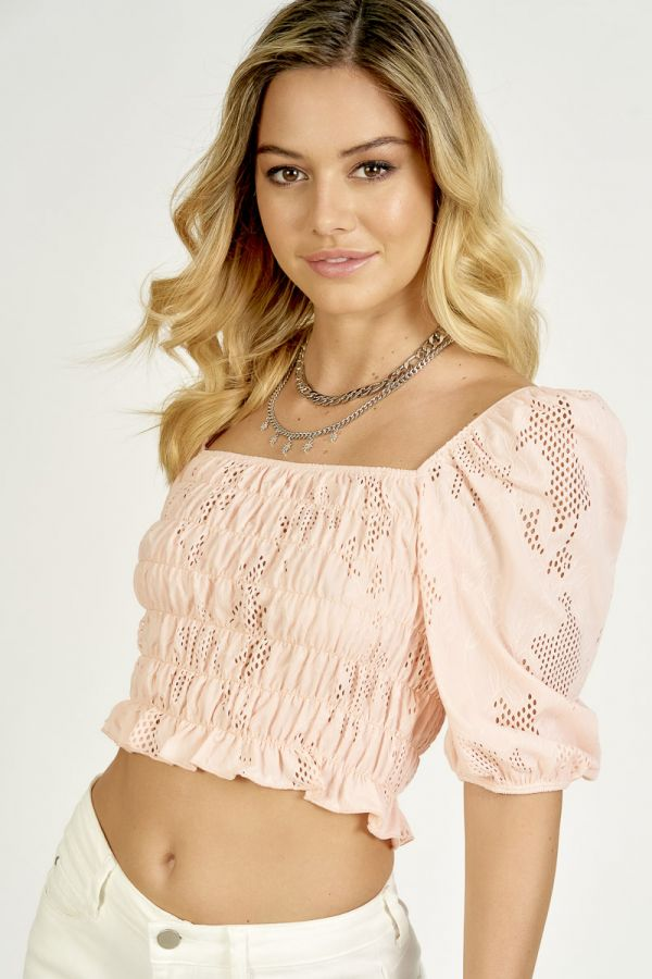 TEXTURED SQUARE NECK TOP (325394)
