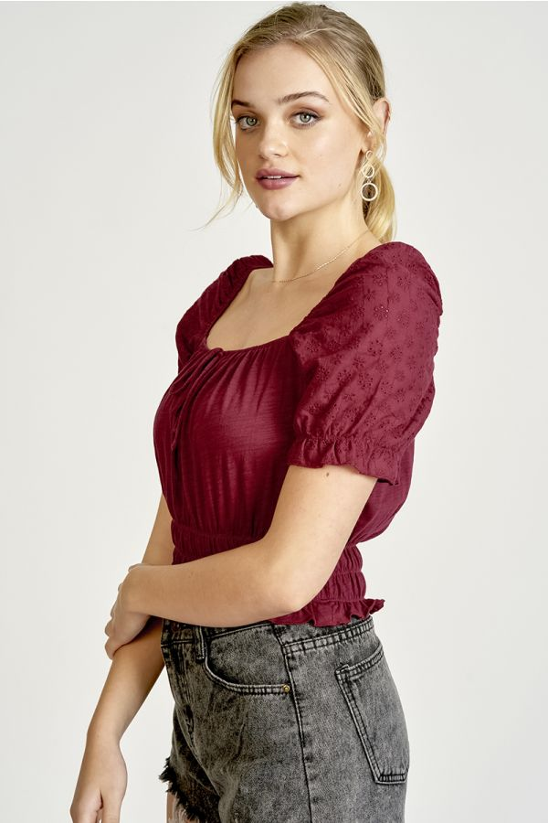 EYELET VOLUME SLEEVE CROP TOP (325403)