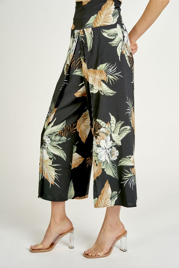 TROPICAL PRINT WIDE PANTS  (325421)