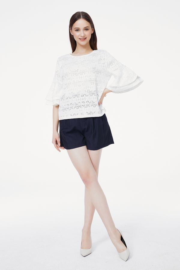 LACE RUFFLE SLEEVE TOP  (325428)