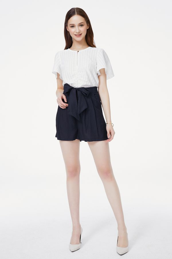 LINEN BELTED SHORTS (325429)