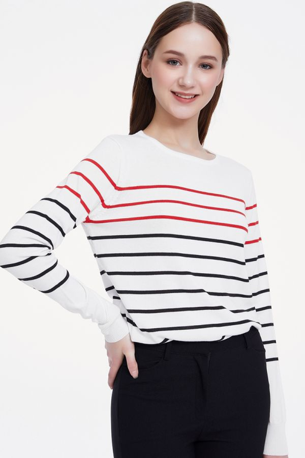 STRIPE LONG SLEEVE KNIT TOP (325445)