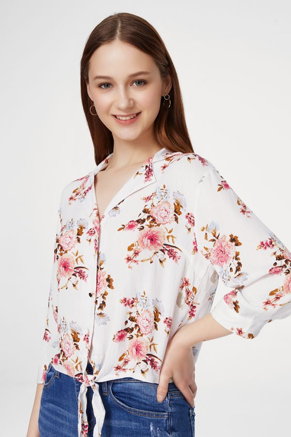 FRONT TIE FLORAL SHIRT  (325492)