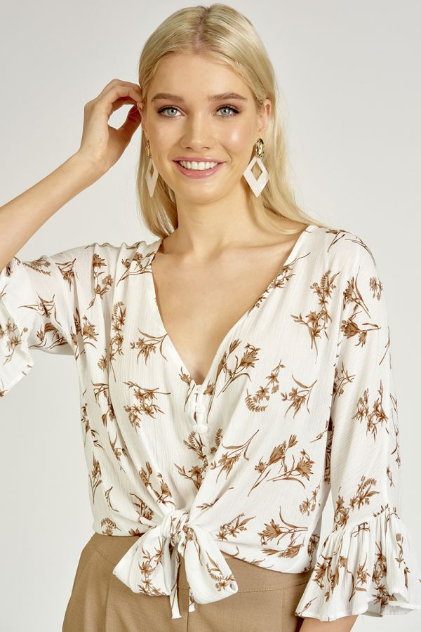 DOT PRINT FRILL SLEEVE TOP  (325494)