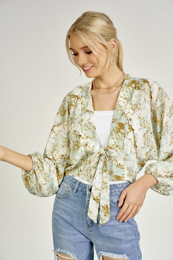 FRONT TIE VOLUME SLEEVE CARDIGAN (325497)