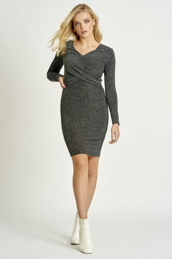 METALLIC TWISTED FRONT DRESS (325498)