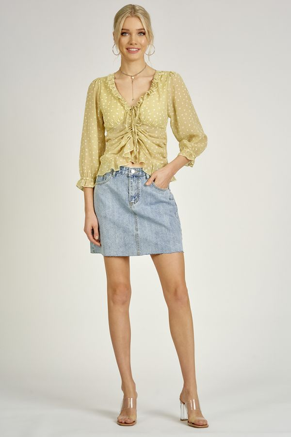 HIGH-LOW FRILL TOP (325499)