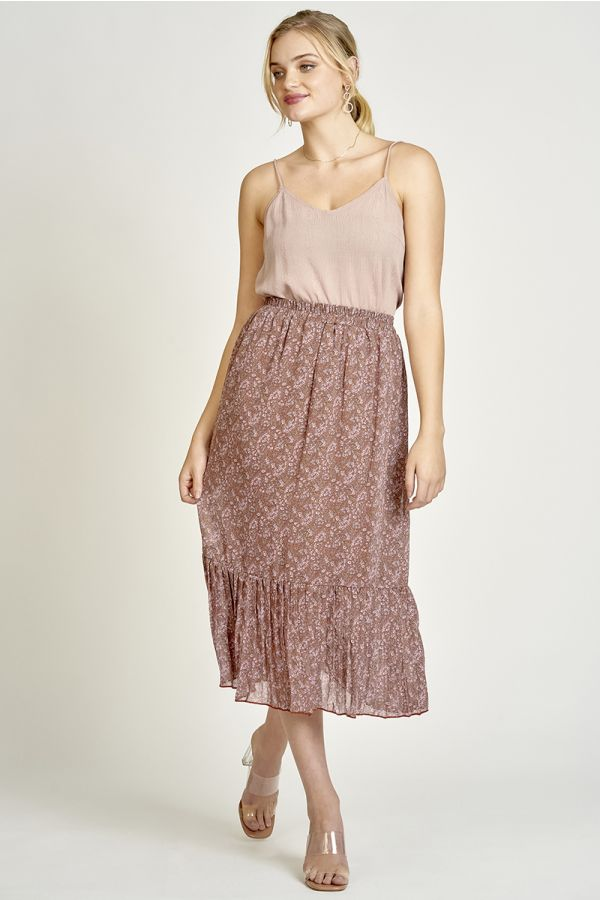 HEM PLEATS MIDI SKIRT (325505)