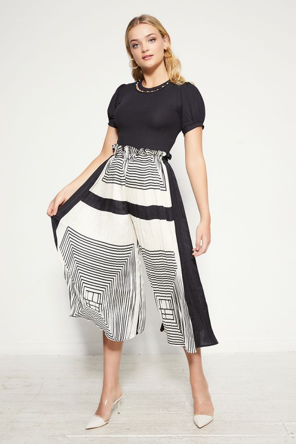 PRINTED PLEATS WIDE PANTS  (325509)