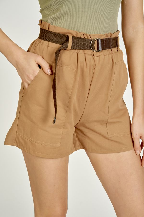 BELTED WIDE POCKET SHORTS  (325522)