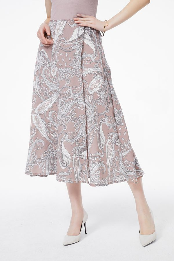 PRINTED WRAP MIDI SKIRT (325541)