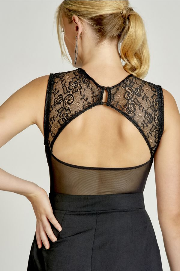 LACE INSERTED MESH BODYSUIT  (325545)