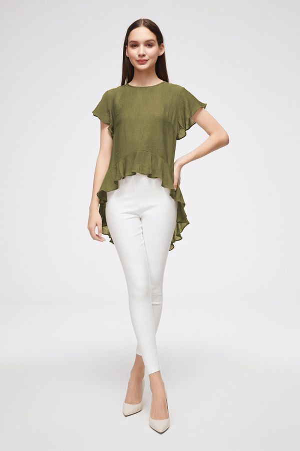 HIGH-LOW FRILL TOP  (325567)