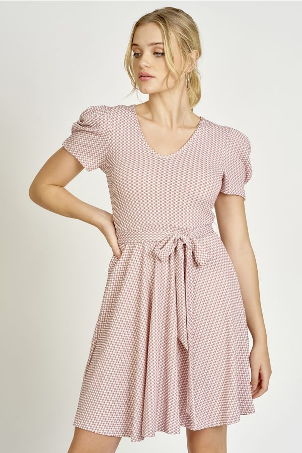 GINGHAM FIT & FLARE DRESS (325603)