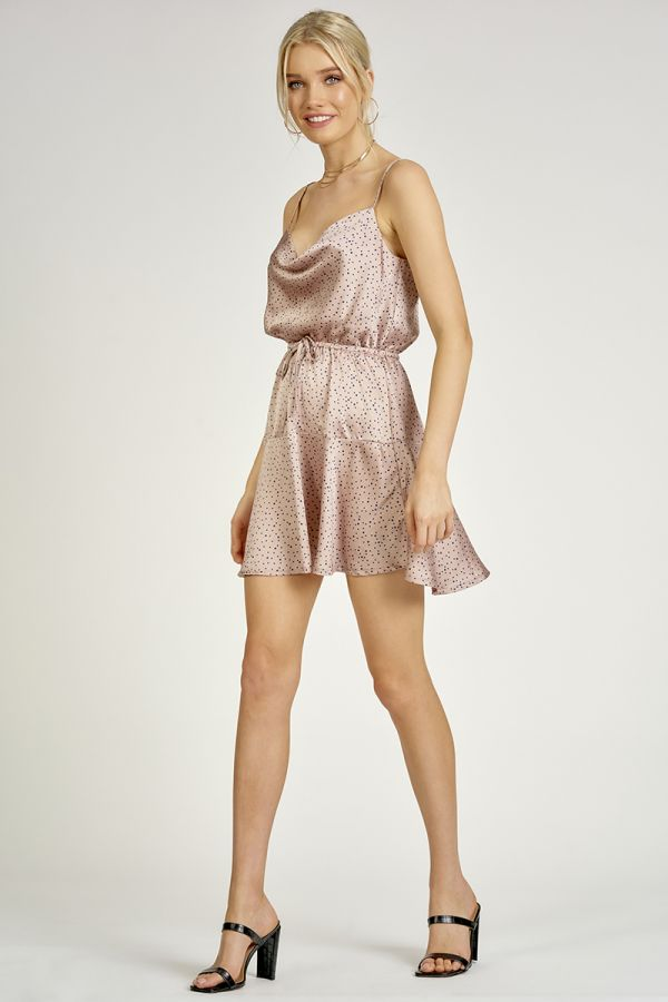 SATIN FIT AND FLARE DRESS (325612)