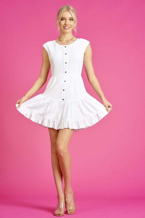 TIERED BUTTON DOWN LINEN DRESS (325614)