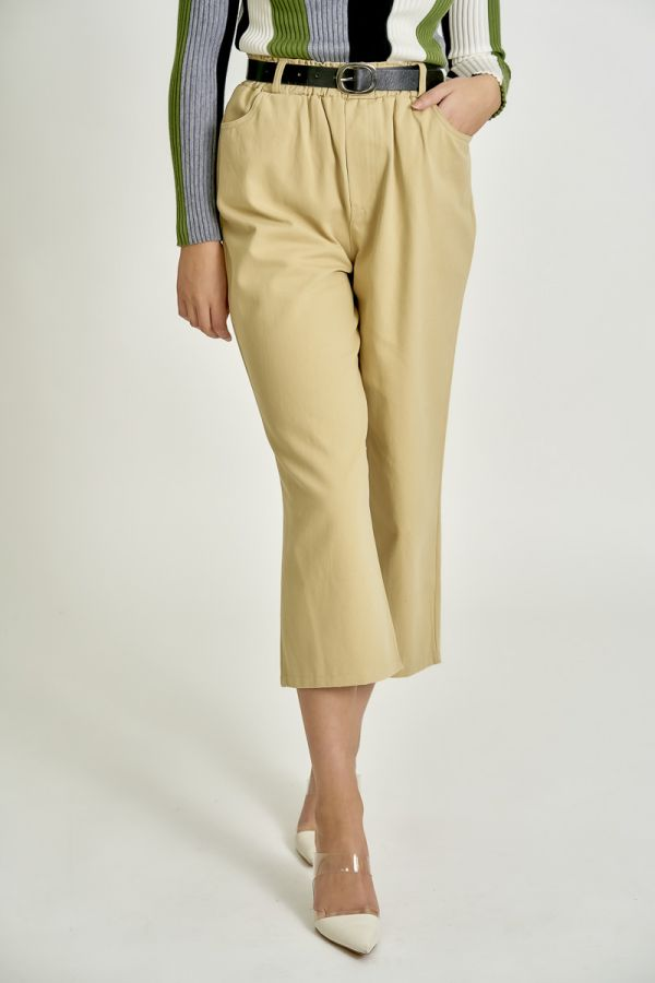 BELTED CASUAL WIDE PANTS (325616)