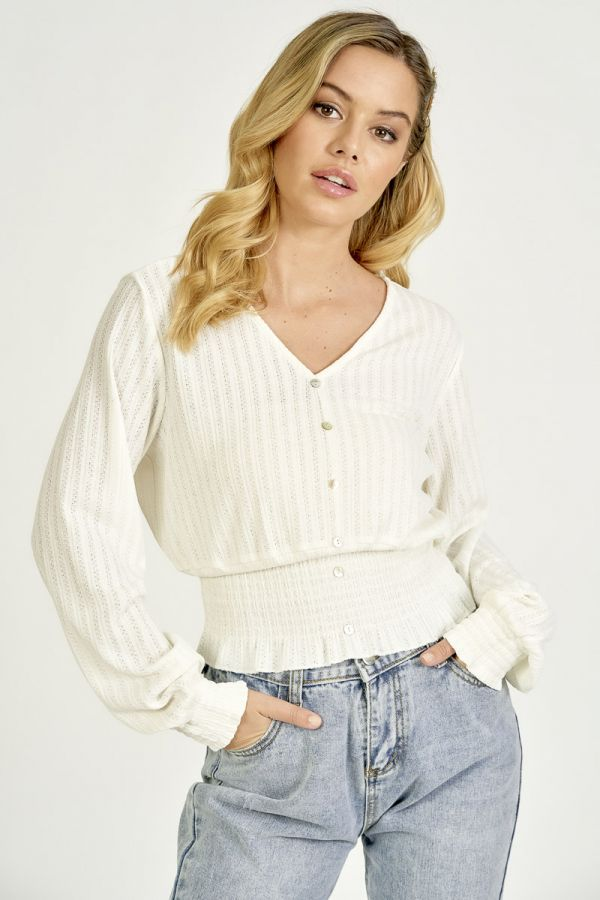 KNIT LIKE HEM SMOCKING TOP (325628)