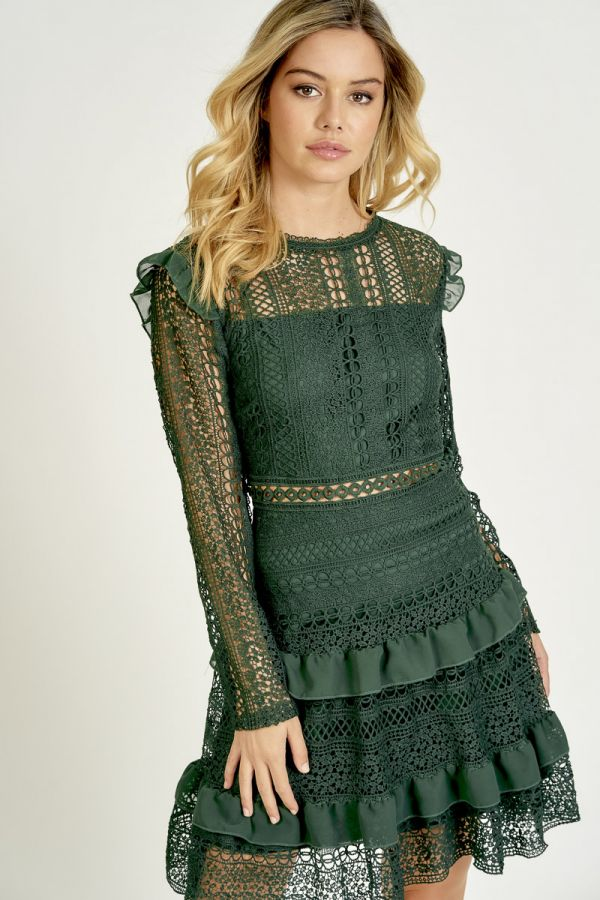 CROCHET LACE FIT&FLARE DRESS (325635)