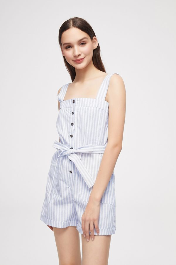 STRIPE PINAFORE STYLE PLAYSUIT  (325678)