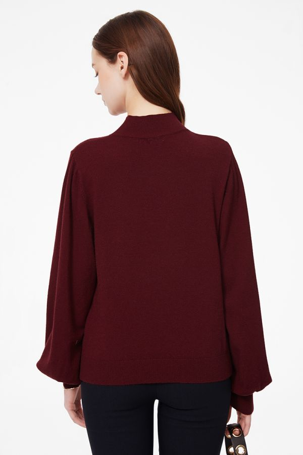 VOLUME SLEEVE HIGH NECK KNITTOP (325711)