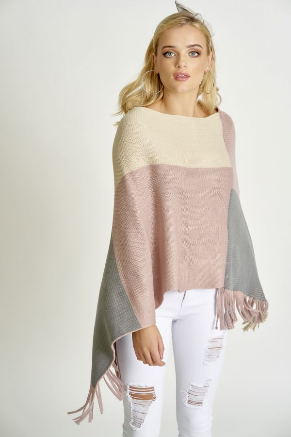 MULTI COLOUR BLOCK PONCHO (325715)