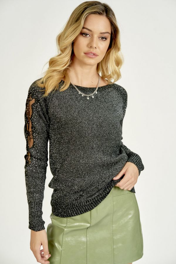 LACE PATCHED LUREX KNIT TOP (325723)