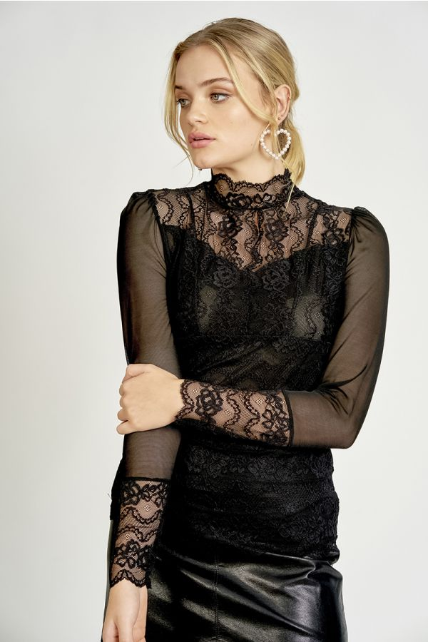 LACE FRONT MESH TOP  (325728)