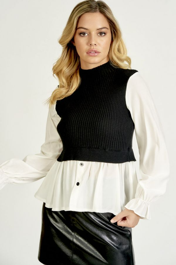 SHIRT LOOK KNIT TOP (325731)