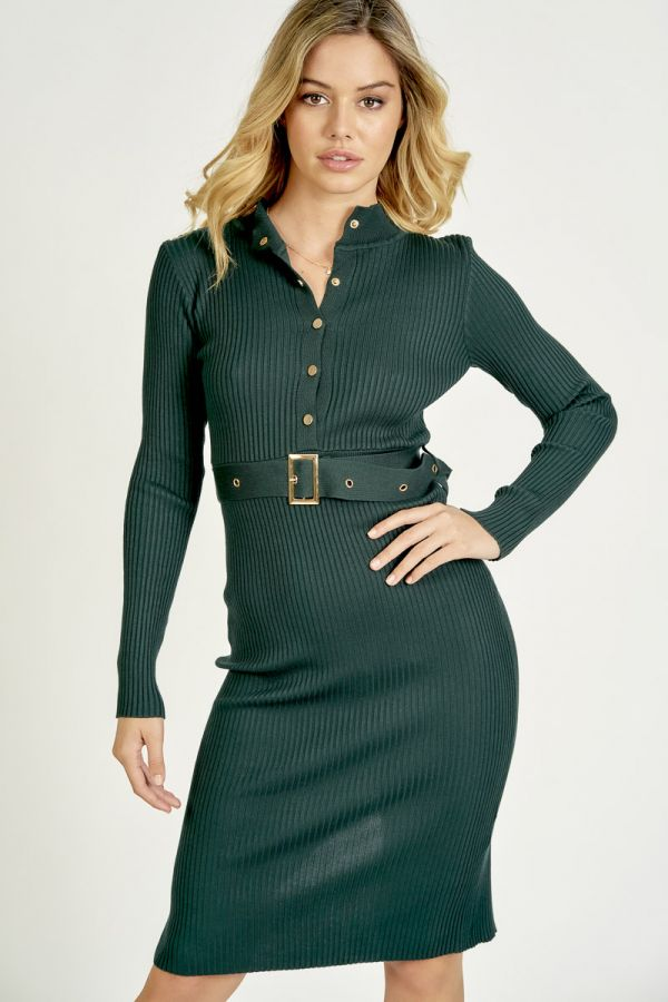 BELTED HIGH NECK KNIT DRESS (325749)