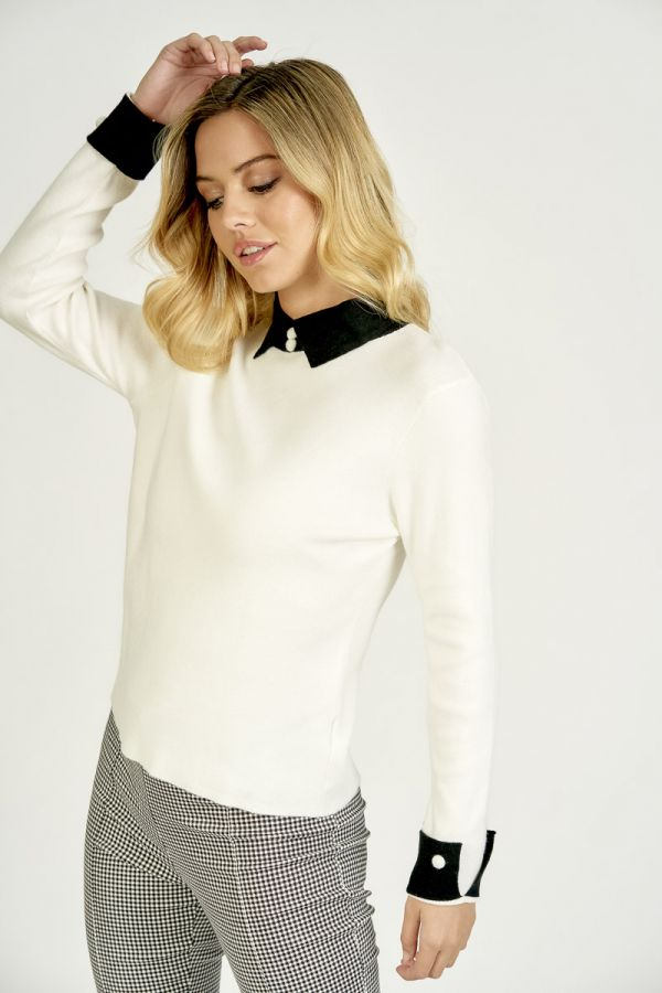 COLLAR POINT KNIT TOP (325819)