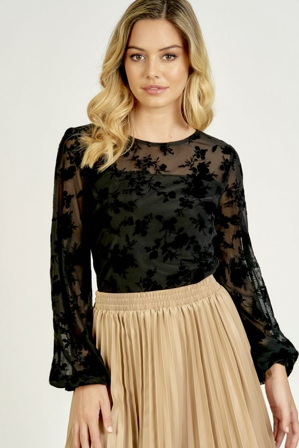 FRILL SLEEVE FLOCKING PRINT (325852)