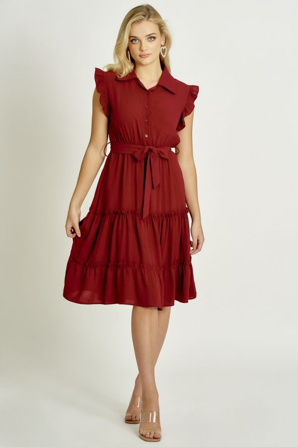 FRILL SLEEVE SHIRT LOOK DRESS (325873)