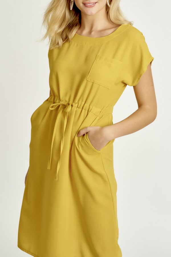 POCKET DETAIL LINEN LIKE DRESS (325874)