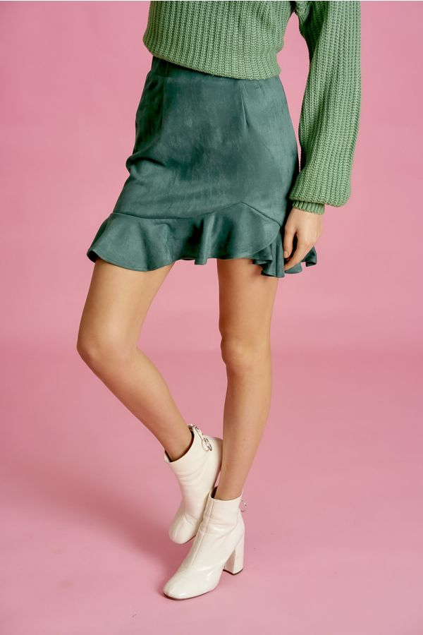 FRILLED SUEDE SKIRT (325888)